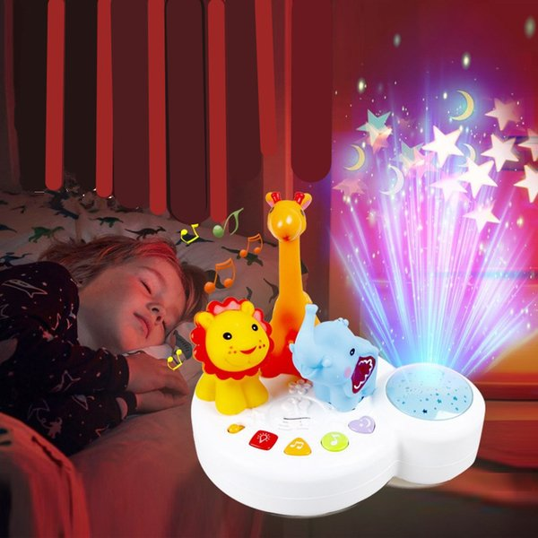 LED Sleep light up toys Music animal park elephant lion giraffe Colorful starlight projection lamp Cradle song Baby hypnosis toy