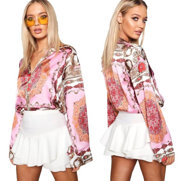 İlkbahar ve sonbahar kadın moda tatlı V Yaka dikiş desen baskı gömlek takım elbise yaka uzun kollu gevşek kadın gömlek