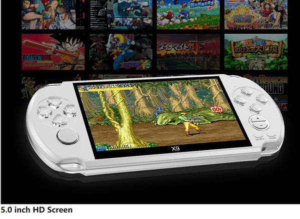 novo X9 consola de jogos 5.0 polegadas grande ecrã Handheld do jogo Suporte ao Jogador TV Out Coloque Com MP3 / Câmara de Filmar Multimedia Video Game Console