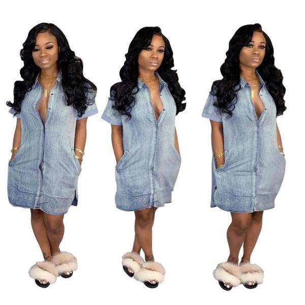 2019 mini abito a manica corta da donna manica corta estiva con spacco laterale laterale moda casual sopra il ginocchio tasca in denim