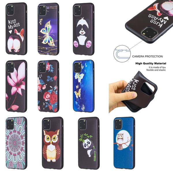For Iphone 11 XS MAX XR X Cover Flower Soft TPU Case For Galaxy Note 10 9 Pro A20E Relief Animal Butterfly Silicon Owl Panda Cartoon Emboss