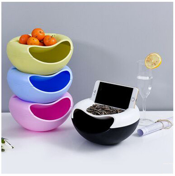 Plastic Nuts Holder Bowl with Phone Support Gap Lazy Watch vedio Case Garbage Collect box Dry Fruits Storage Dish Bowls