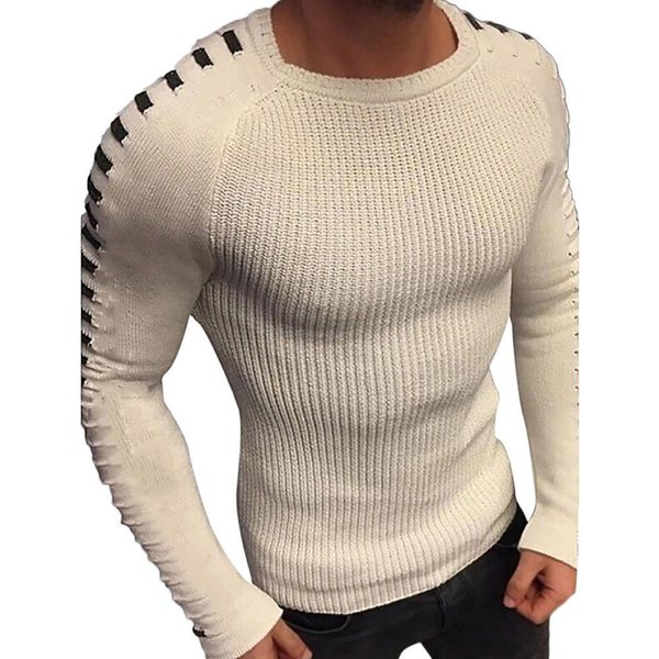 2019 2019 New Men'S Slim Casual Sweater Personality Fashion Woven Stitching Pullover Thick Sweater Male Brand Clothes Abrigo Hombre # From Kennethy,