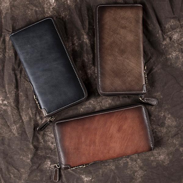 Male Zipper Long Wallet Money Wrist Bag s Holder Cell Phone Case Pocket Clutch Handy Bags Genuine Leather Men Purse