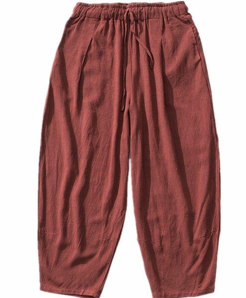 2019 hommes de marque Autunm Casual Harem Pants Hommes Pantalon Jogger Hommes Coton lin Pantalon plus la taille M- 6XL 7XL NOIR GRIS BLEU