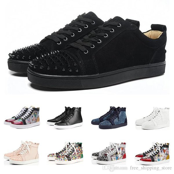 ACE Designer fashion Red Bottoms zapatos con tachuelas Spikes Zapatillas planas para hombres Mujeres glitter Party Lovers Cuero genuino casual remache Sneaker