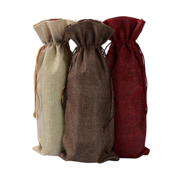 New Jute Wine Bags Champagne Wine Bottle Covers Gift Pouch burlap Packaging bag Wedding Party Decoration Wine Bags Drawstring cover