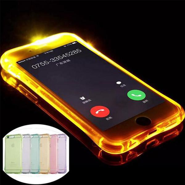 Luminous Called Sense LED Flash Light Clear TPU Soft Back Case 360 degree protection For iphone 5 6 6s plus s6 s7 s7edge