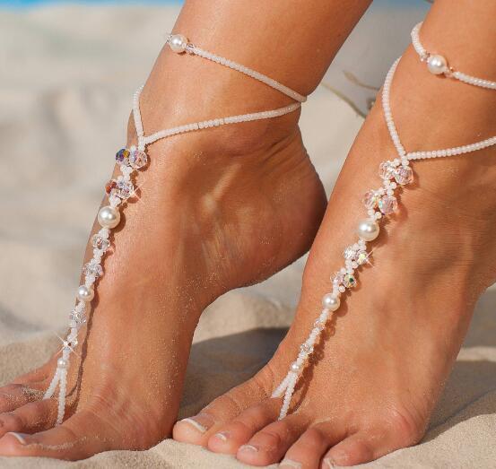 Joyas para los pies Cadena para el tobillo de la perla Sandalia descalza Tobilleras de playa nupcial Perlas de cristal multicolor tobilleras sexy Incluso medias para el tobillo