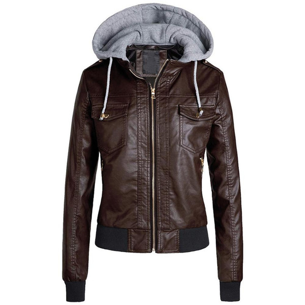 Mulheres de Slim jaqueta de couro removível Zipper Caps com capuz casacos curtos quentes Outwear