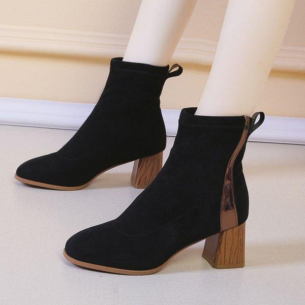 Flock bottes d'hiver femmes Fashion Square bottines de talon pour les femmes Slip-On Flock Chaussettes Chaussures souples femmes femme chaussures