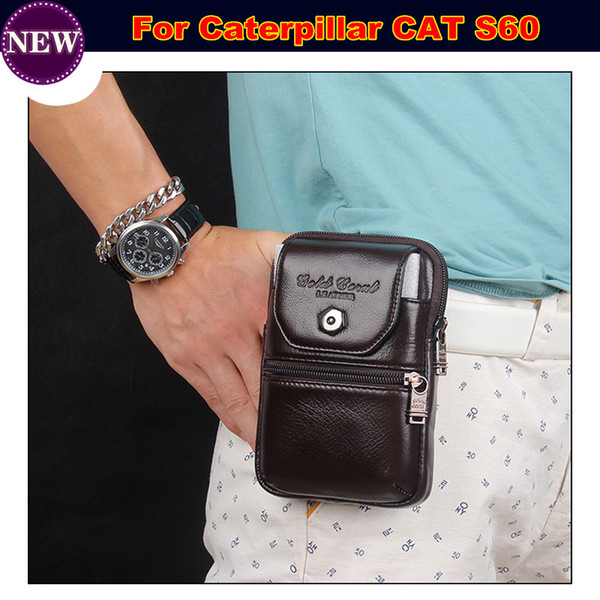 Cell Phone Case / Genuine Leather zipper pouch Belt Clip Waist Purse Case Cover for Caterpillar CAT S60 Phone Bag Free Shipping