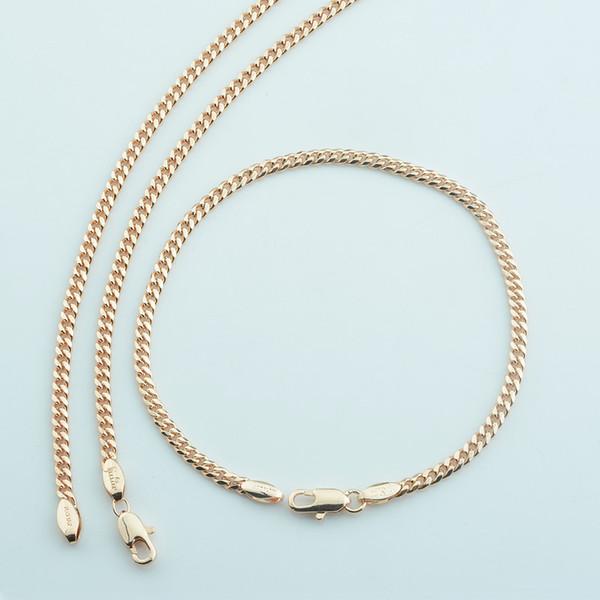 1 Set 3mm Women Men 585 Rose Gold Color Curb Chains Bracelet Necklace Set Jewelry