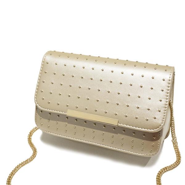 Rebite Mulheres Flap Bag Cadeia Strap Lantejoulas Mensageiro Sacos De Couro Pu Bolsa de Ombro de boa qualidade Primavera E Verão New Arrivals