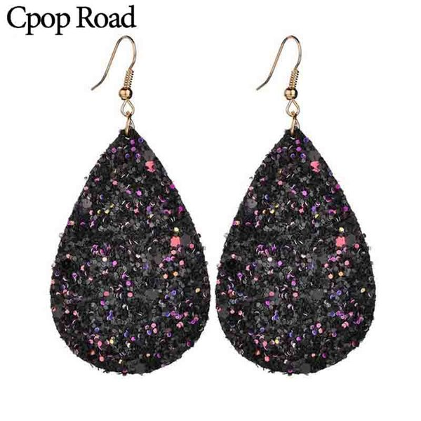 cpop sequins earrings for women faux feather water drop multi-colors teardrop shiny hook earring jewelry statement party female accessory