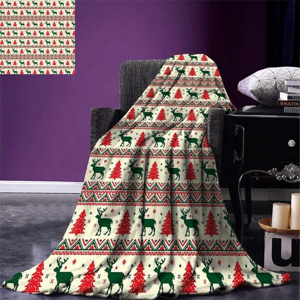Nordic Throw Blanket Pixel Art Inspirations Christmas Ornamental December Vintage Warm Microfiber
