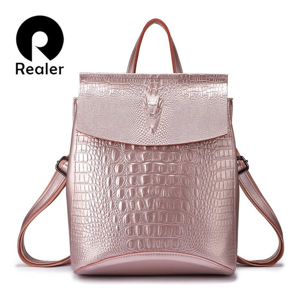 backpack women split leather school bags for teenage girls travel backpack ladies shoulder bag crocodile prints pink