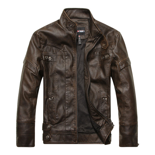 2017 Winter Brown Leather Jacket Men Stand Collar Zipper Up Fur Lining Slim Biker Motorcycle Jacket Casaco Couro Casculino