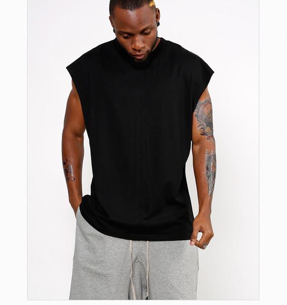 Yeni erkek t-shirt gevşek kolsuz T-shirt Yüksek sokak erkek alt düz renk yelek hip-hop erkek giyim