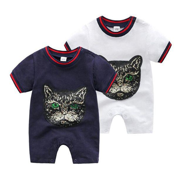 vêtements pour bébés coton bébé mince col rond, manches courtes, hatchcoat broderie paillette à sequins, robe d'été pour garçons et filles 637
