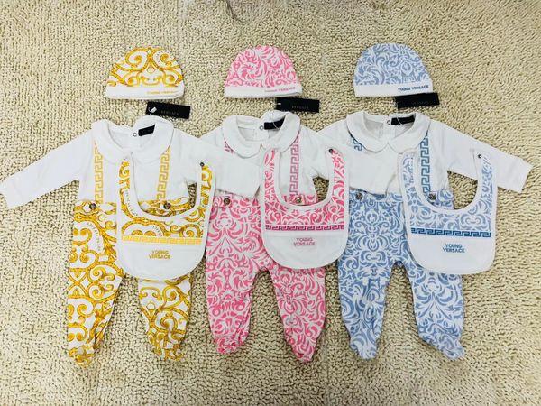 best selling 0-18M Baby Girl boy European printing jumpsuit 3pcs set Romper Baby Hat + jumpsuit Long Sleeve Romper Infant bodysuits