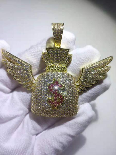 Hip Hop CZ Zircon Piedra Configuración de Bling hacia fuera helado del ala del ángel US Dollar monedero del bolso del dinero collar de los colgantes de los hombres de rap joyería