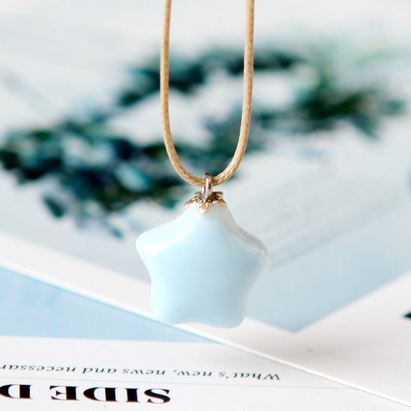 Chinese Style Ceramics Blue Stars Lovely Hundred and up Literature Sen System Sweet Pendant Necklace Sweater Chain