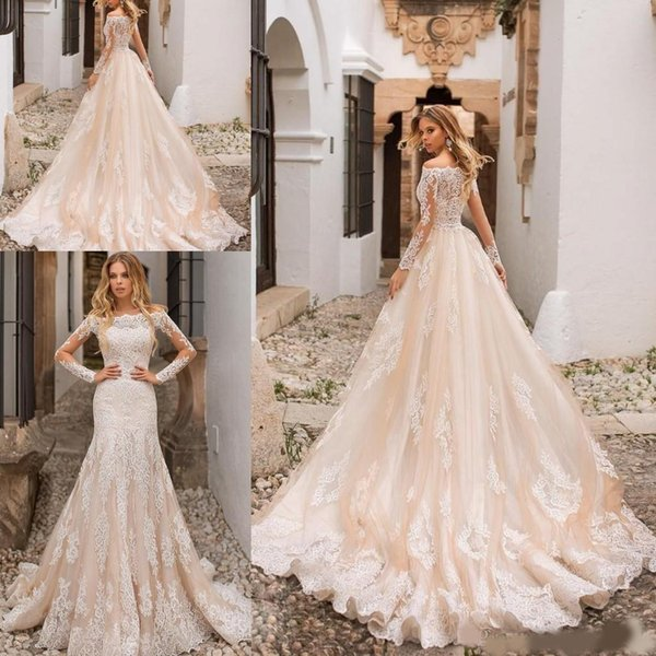 2020 New Arrival Middle East Champagne Mermaid Wedding Dresses Off Shoulder Full Lace Long Sleeves Detachable Train Plus Size Bridal Gowns