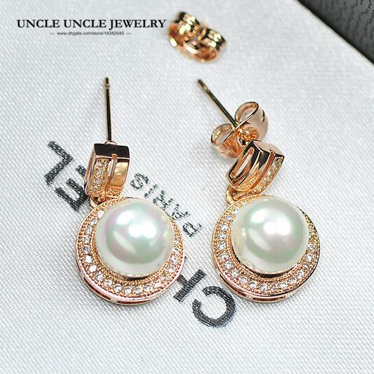 Rose Gold Color Shell Round Simulado Pearl Element Rhinestones Micro Setting Luxury Lady Earring Wholesale