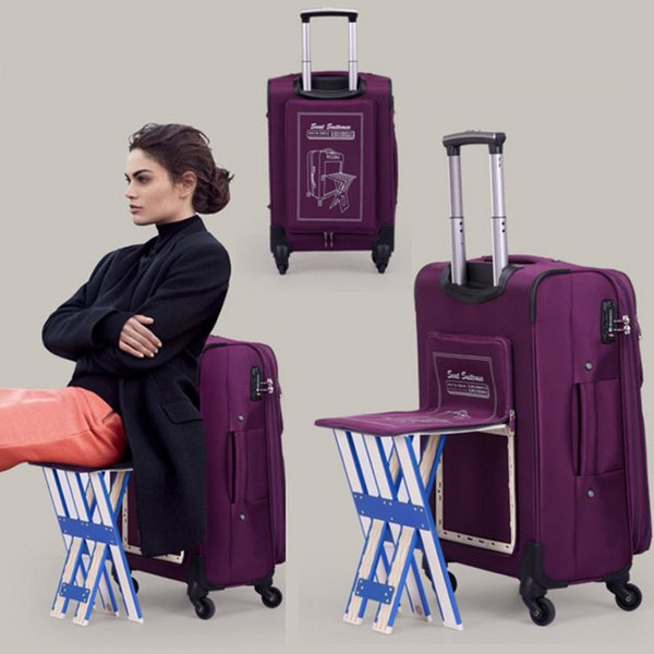 New Rolling Luggage Bag with Chair,Men Travel Suitcase with wheel ,Waterproof Nylon Trolley Case,Women suitcase can be sitting