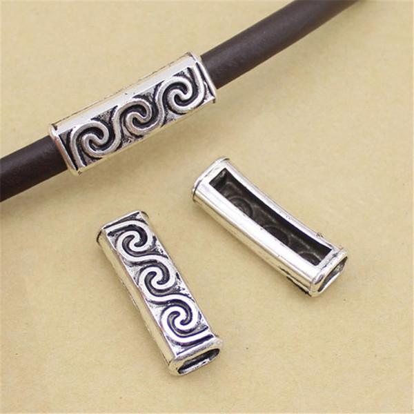 Fostfo 10шт / много Отверстие 13mmX40mm Ancient Silver S-образный полая трубка для шнура кожи Соединитель Браслет Изготовление ювелирных изделий Выводы