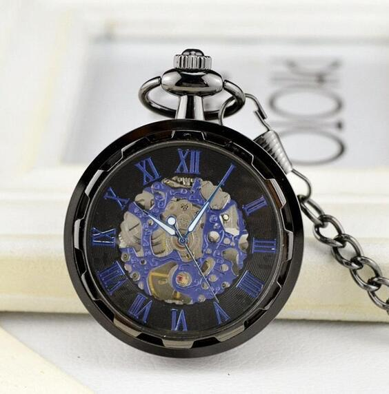 Golden mechanical pocket watch Korean trend gold-plated transparent hollow luxury watch Personality without cover for men and women m2