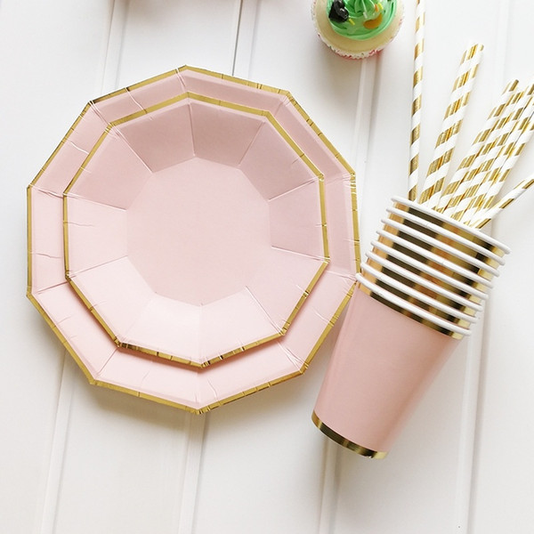 Fashion Disposable Hexagon Rose Gold Party Paper Plate Tableware Supply 8Pcs//Set