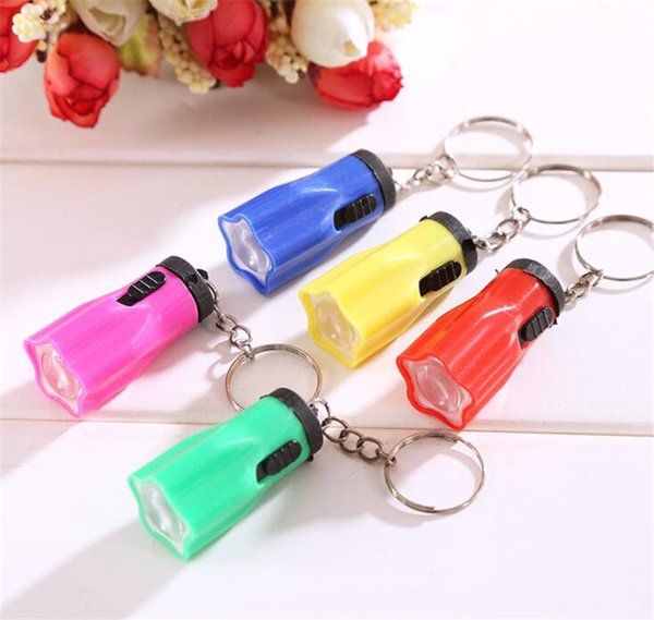 New Colorful Flower Shape Portable Cute Bright LED Flashlight Key Chain Mini KeyChain Torch Flashlights Plum Ring Mixed Colors For Hiking