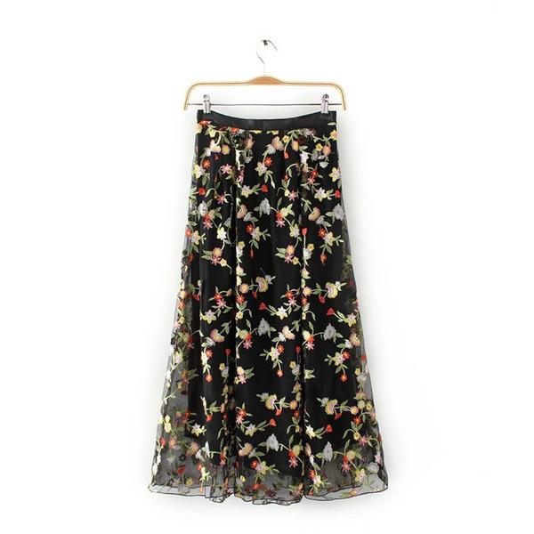 Primavera Nova Moda Selvagem Bordado Patchwork Foral Malha Costura Saia das Mulheres Roupas Casuais Saia L