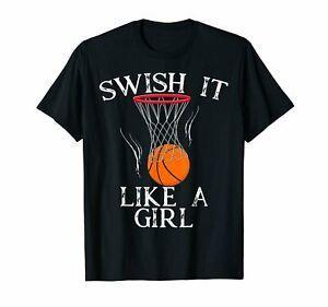 Bir Kız Gibi Swish Basketbol T-Shirt Doğum Günü Partisi Hediye