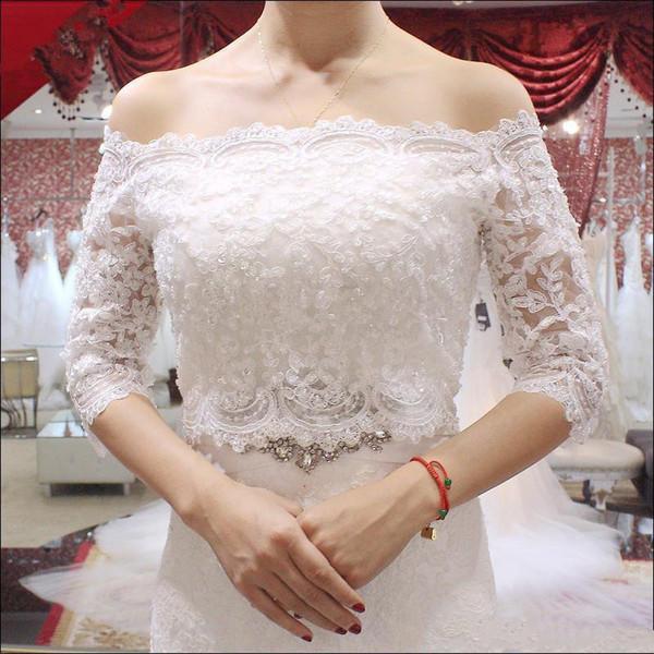 Luxurious Sexy Lace Jacket Illusion Half Sleeve Off The Shoulder Jackets Bridal Shrug Bride Wraps Wedding Jacket Bridal Accessories Bridal W
