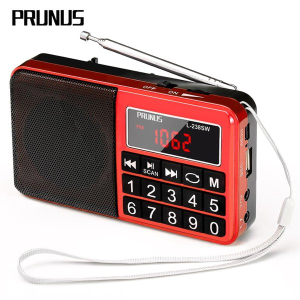 PRUNUS J-429 Portable SW/FM/AM(MW) MP3 radio with neodymium speaker. Large button and large display. Stores stations
