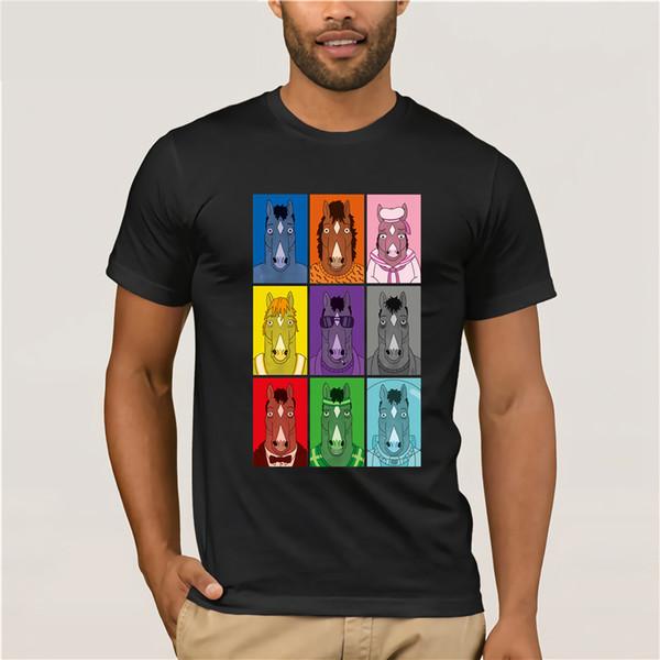 100% coton T-shirt personnalisé à col en V pour hommes T-shirt Bojack Cavalier Couleurs - T-shirt Bojack Cavalier