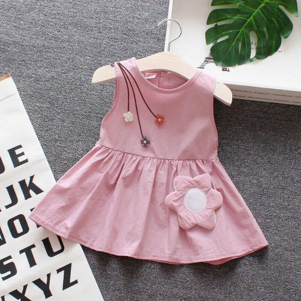 Vestido de verano para niña pequeña para bebés Vestidos de verano sin mangas florales lindos Vestidos para niñas de 3-24 m