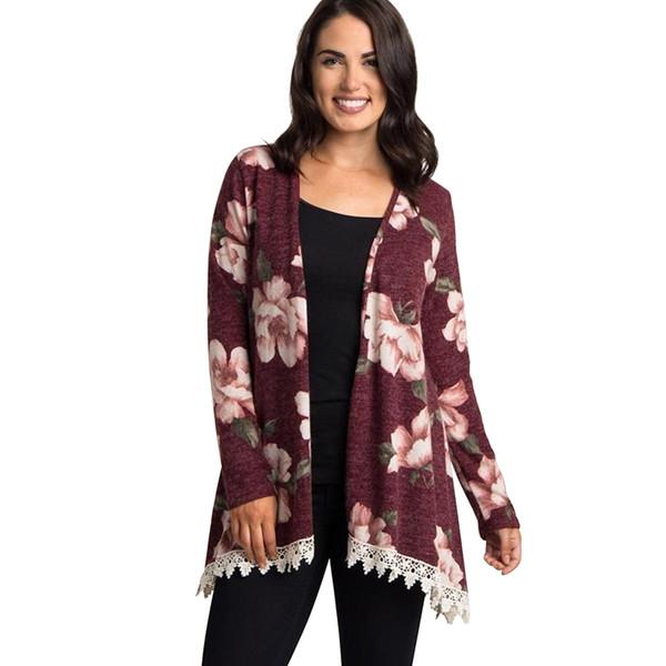 Elegant Women Cardigan Floral Print Crochet Lace Trim Open Front Long Sleeve Waterfull Drape Outerwear Cardigan for Women Coats