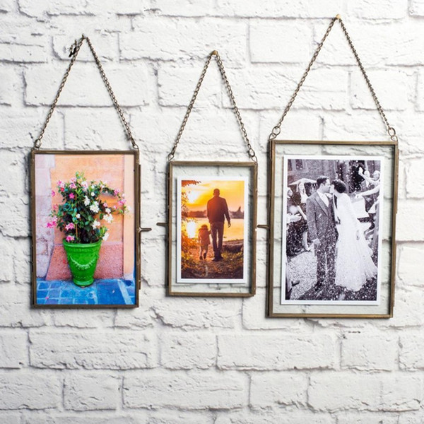 hanging antique glass metal picture p frame portrait dried plant preserver holder, for home party decor