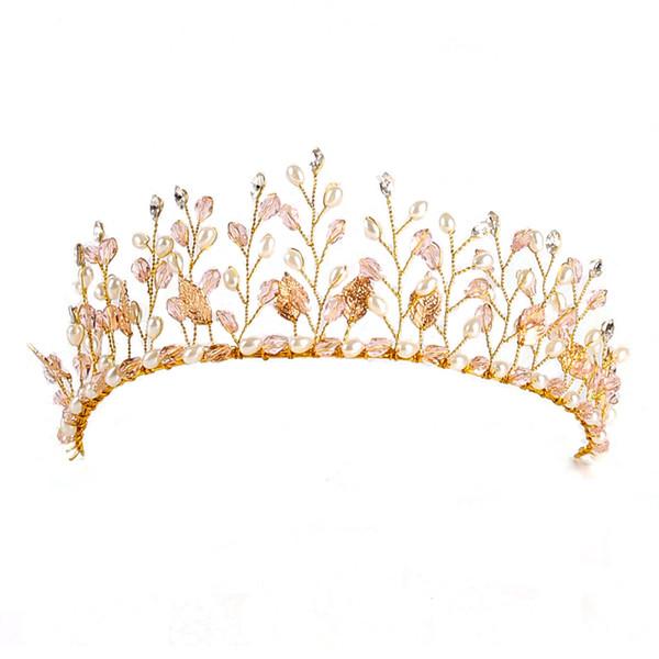 wedding tiara Crystal Pearl Wedding Tiara Crown Rhinestone Headbands Hair Jewelry Bridal Hair Accessories Gold Head Piece Hairbands