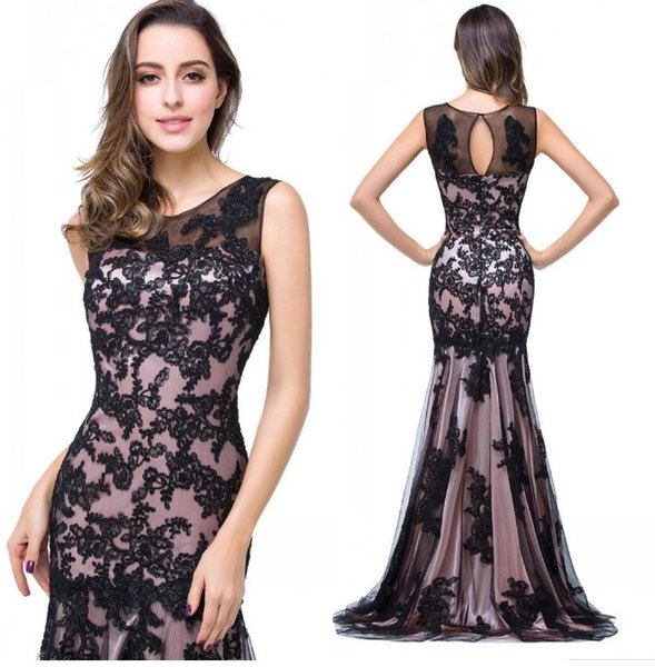 Sexy Multi Black Lace Evening Mother Of the Bride Dresses Plus size Sheer Neck Applique Mermaid Tulle Long Cheap Prom Formal Dress New