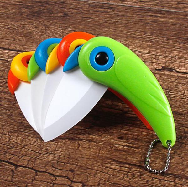 Couteaux pliants Mini perroquet oiseau en céramique couteau coloré créatif oiseau en forme de couteau à fruits couteau portable en céramique couteau à légumes cuisine outils CLS658