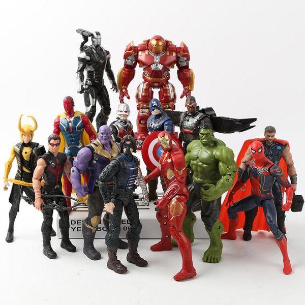 Avengers 3 Civil War Hulk Iron Man Spiderman Thanos Vision Captain America Ant Man Loki PVC Action Figure Collection Model Toy