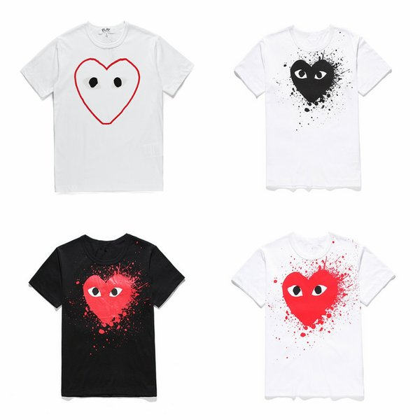 19ss mens designers t shirts commes Pullover cotton des garconss tee Embroidered heart CDGplay T-shirts dolce clothing vetements
