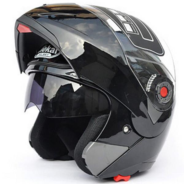 Jiekai Мотоцикл шлемы Safe Двойного Visor ЕС DOT Откиньте вверх шлют шлет Moto Racing 4 сезона шлет мотоцикл MOTO