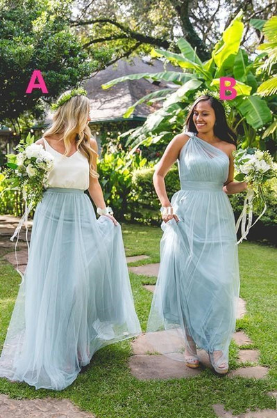 New Maxi Dusty Blue Tulle Bridesmaid Dresses One Shoulder Floor Length Maid Of Honor Forest Wedding Party Wear Cheap Hot Sale