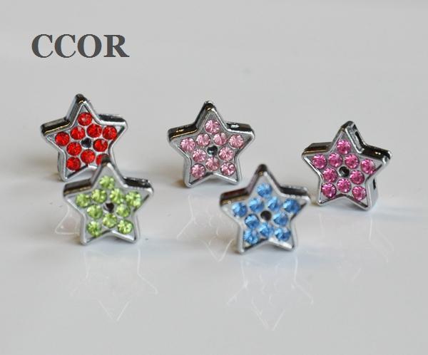 10pcs 8MM Full Rhinestone Star Slide Charms DIY Accessories Fit 8mm Pet Collar Belts Bracelets Keychain Tags